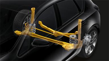 Opel Astra hatchback - Tylne zawieszenie z drążkiem Watta